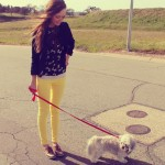 Yellow Pants and a Little White Dog