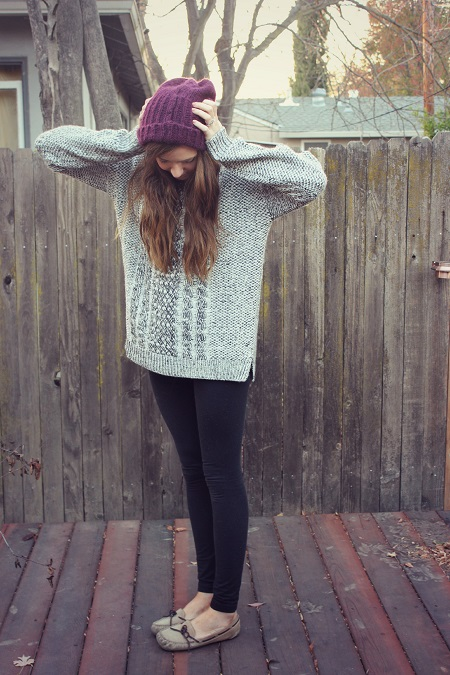 sweater leggings and beanie