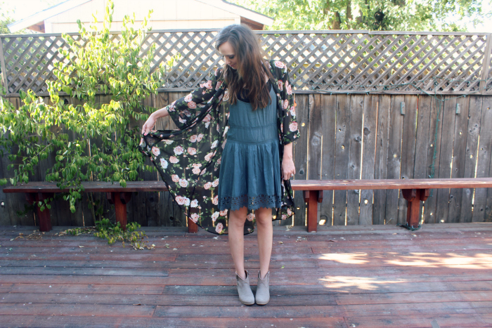 ankle boots and kimono