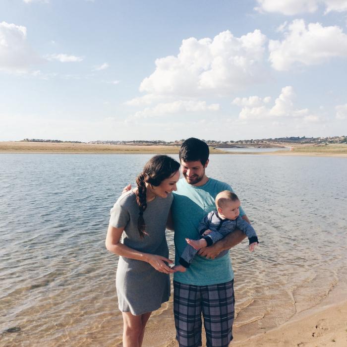 the three of us at the lake