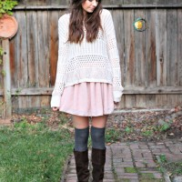 a blush skirt and knee highs