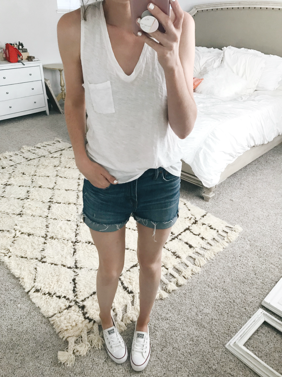 a8efe4fc29e1f TANK (I size up for a slouchy fit) | SHORTS + HERE (true to size) | SHOES  (true to size)