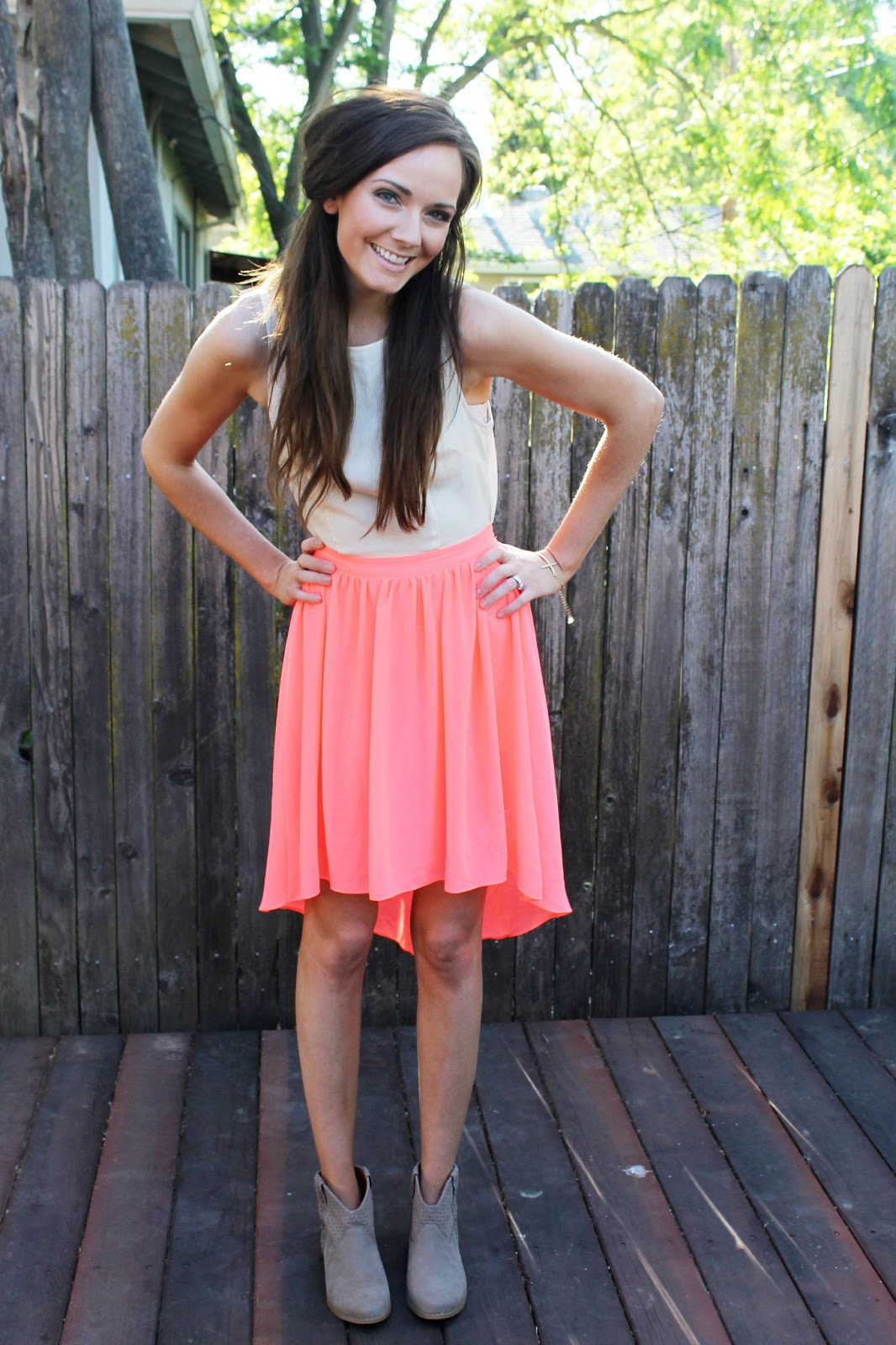 White And Pink Dress With Black Shoes