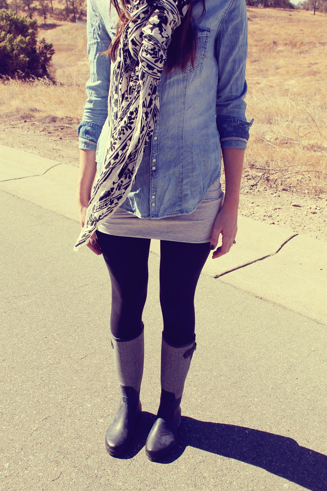 Fall Fashion Series Day 3  Chambray and Rain Boots - Katie Did What 46eed4919
